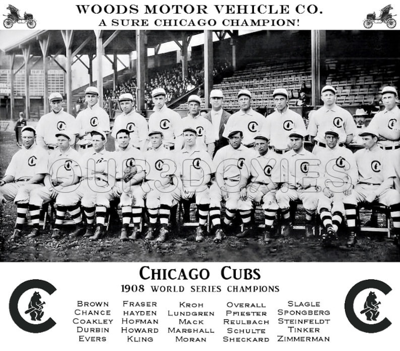 6aac3489 1908 Chicago Cubs Woods Motors Store Counter Advertising Standup Sign Repro