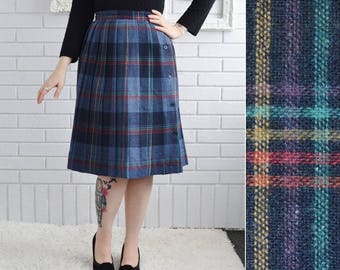Vintage Wool Blend Wrap Skirt in Blue and Plaid with Side Buttons Size Small