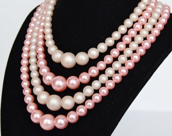 Vintage Necklace with Four Strands of Beads in Pink and Pale Peach Made in Japan
