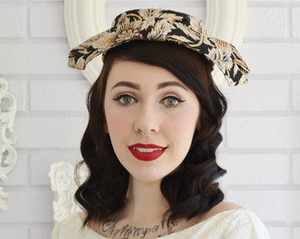 Vintage 1960s Gold Silver and Black Floral Brocade Hat with Hair Combs by Mr John
