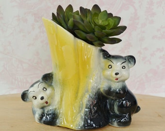 Vintage Planter of Black Bears and Yellow Tree Trunk