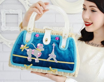 Vintage and Upcycled Wicker Handbag with Acrylic Handles and Parisian Poodle Scene