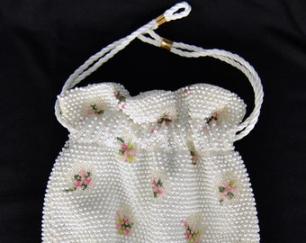 Vintage 1960's Reversible Beaded Handbag with Flower Embroidery