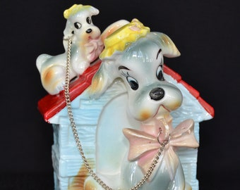 Vintage Bank with Chain Dog Family and Doghouse by Ucagco