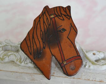 Vintage Leather Horse Brooch in Brown with Red Paint and Metal Accents