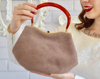 Vintage 1950s Tannish Brown Fuzzy Wool Handbag with Acrylic Handle by Empress