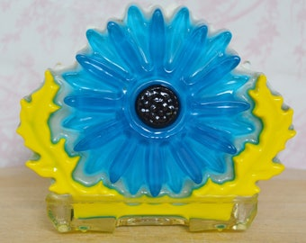 Vintage Resin Flower Napkin or Letter Holder in Blue and Yellow