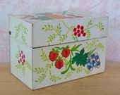 Vintage 1960s Tin Recipe Box with Fruit and Leaf Motifs by J Chen