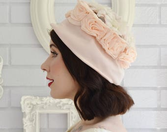 Vintage 1960s Light Pink and Peach Hat with White and Pastel Green Fabric Flowers by Coronet
