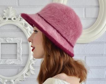 e4aeae2c196 Vintage Pink Fuzzy Angora Blend Hat by Kangol Design