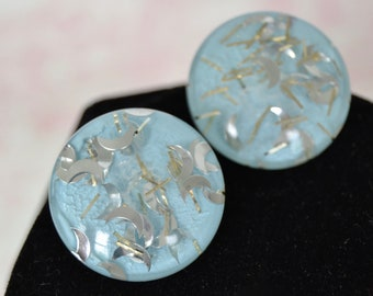 Vintage Clip-On Earrings with Blue Background Plastic and Confetti Crescent Moons