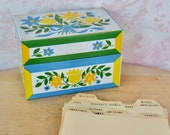 Vintage Tin Recipe Box with a Floral Design by Syndicate with Recipe Dividers