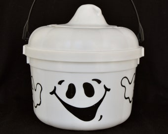 Vintage McDonald's Plastic Ghost Halloween Candy Bucket with Cookie Cutter Lid