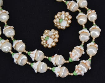 Vintage Necklace and Clip-On Earrings Set with Cream and Beige Plastic Beads and Green Leaves Made in Japan
