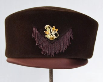 Vintage Brown Wool Hat with Tassels and Adornment by Riviera