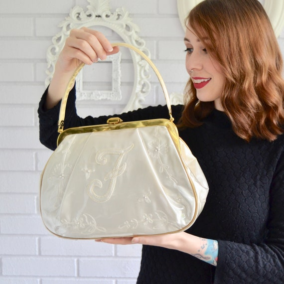 Vintage 1960s F Monogram Handbag with Cream Satin