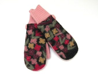 Wool Mittens // Fleece Lined Felted Wool Mittens // Floral Charcoal Gray Wool Sweater Mittens