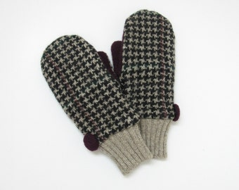 Wool Mittens // Fleece Lined Felted Wool Mittens // Taupe and Black Houndstooth Check Wool Sweater Mittens