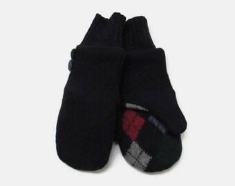 Wool Mittens // Fleece Lined Felted Wool Mittens // Navy Argyle Women Wool Sweater Mittens
