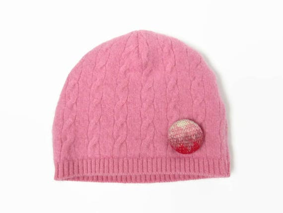Cashmere Baby Hat    Pink Cable Knit Beanie    3-6 Month Baby  70f67817498