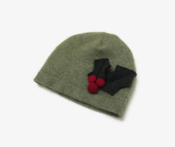 Cashmere Baby Beanie Hat with Holly Berries 3-6 Month Size  42f324cc2fa