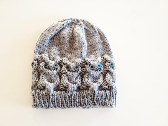 Owl Knit Hat Pattern Etsy