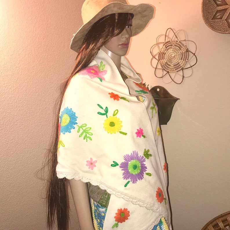 One of a Kind Vintage Hand Stitched Floral Crewel Shawl Dresser Scarf Curtain Valance 84 x 38 Unique Handmade 70s Hippie Boho Festival