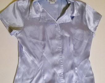Vintage satin powder blue blouse.