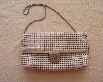 Vintage 1970's white mesh handbag