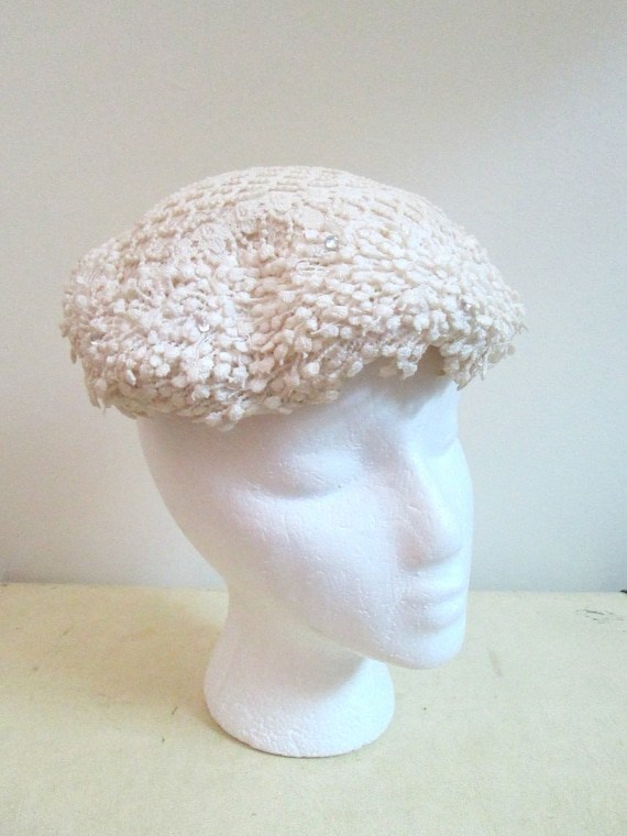 1950s Wedding Hat Lace Crochet Antique White Mid C