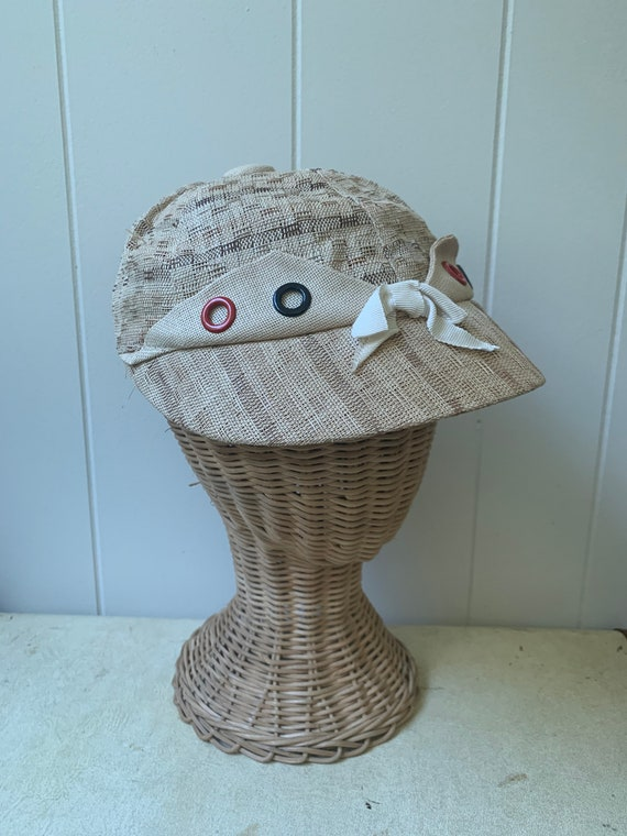 1940s Soft Straw Baseball Cap // Vintage Little R… - image 2