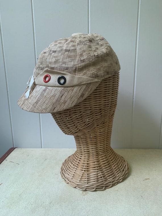 1940s Soft Straw Baseball Cap // Vintage Little R… - image 9