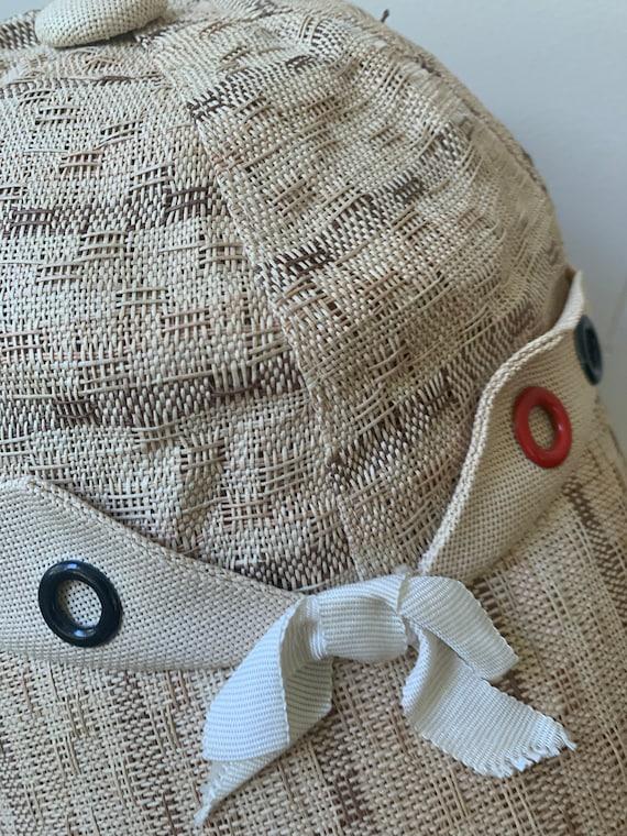 1940s Soft Straw Baseball Cap // Vintage Little R… - image 3