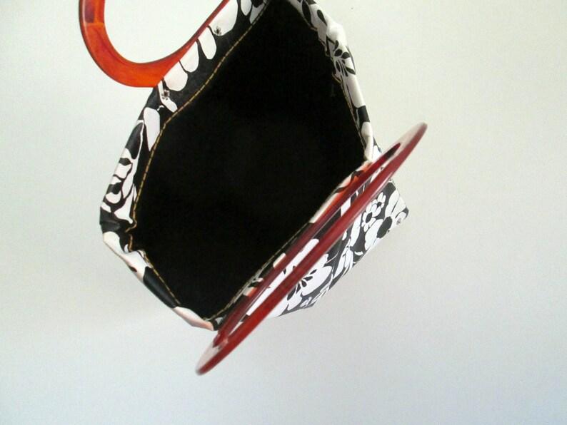 Black /& White Vinyl Tote Handbag Mid Century Mod Modern