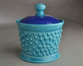 Dottie Sugar Jar Lidded Blue and Green Dottie Sugar Bowl  Ready To Ship by Symmetrical Pottery