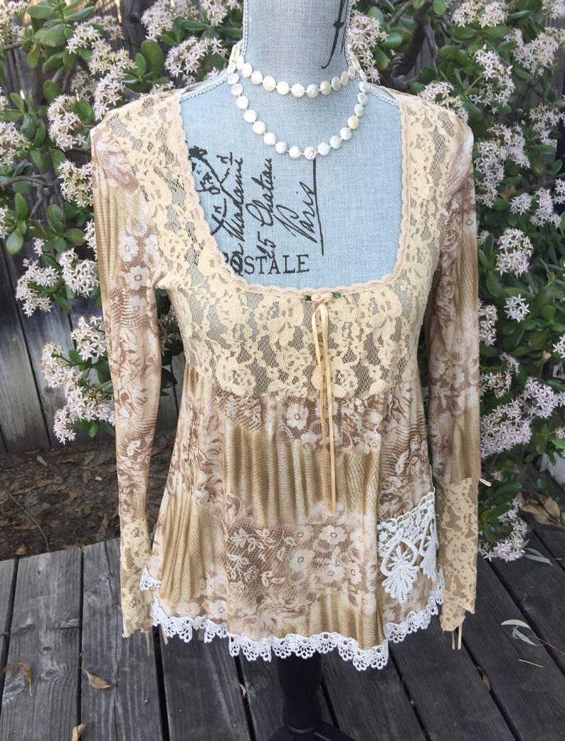 3e4386dfc77863 ViNTAGE Boho Gypsy Embellished BABYDOLL Top Size