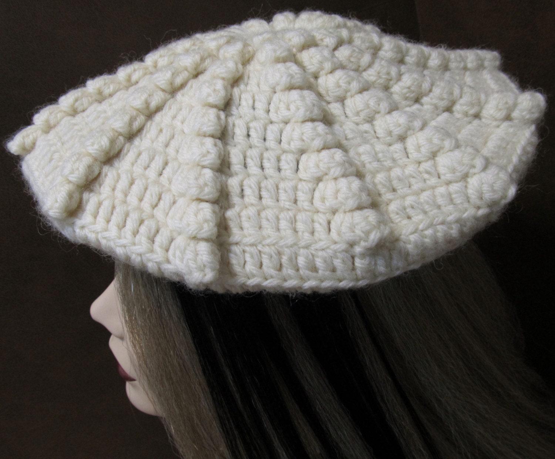 Spiral Popcorn Beret Crochet Beret Pattern Pdf Download Etsy