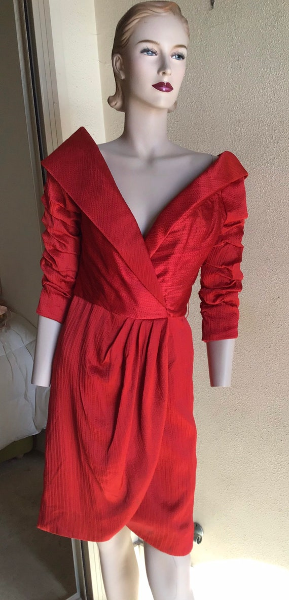 Vtg 80s Arnold Scaasi Couture Boutique Red Cocktai