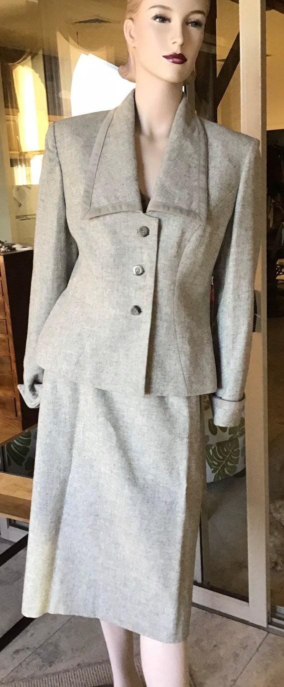 Vtg Lilli Ann Grey Wool Jacket Skirt Suit S
