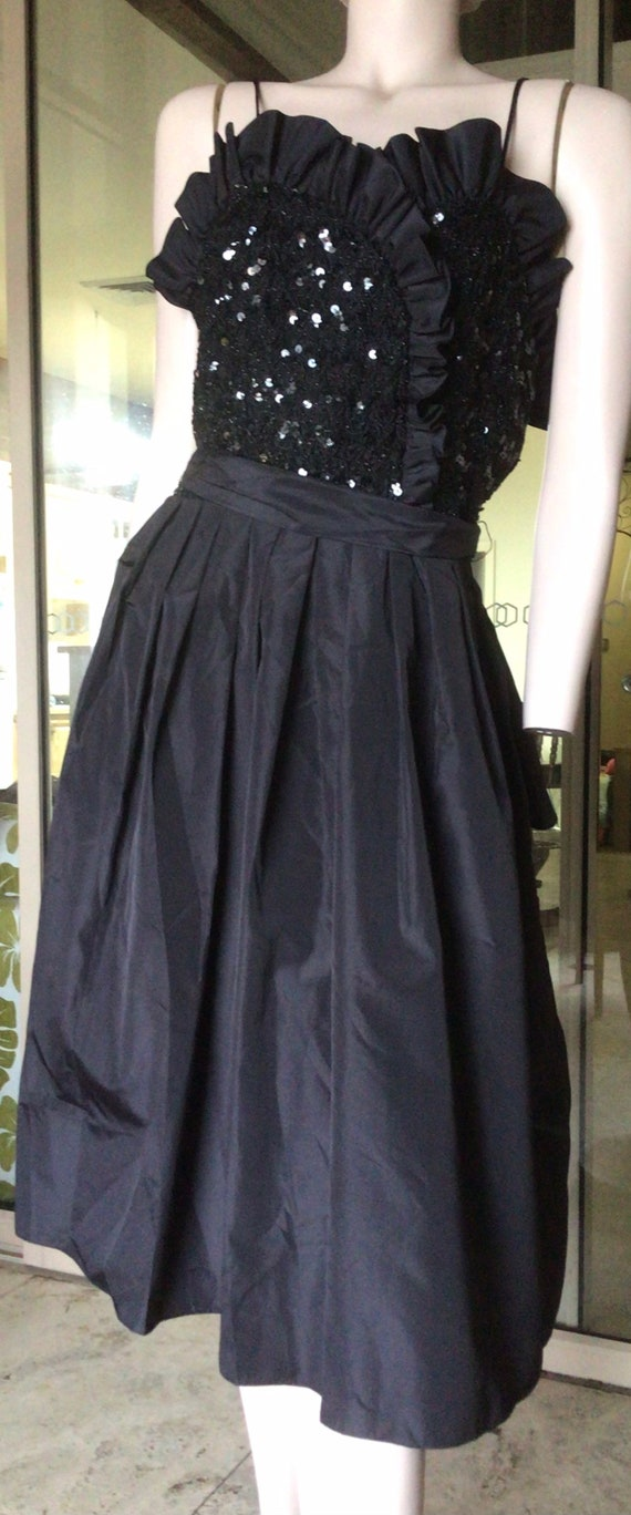 Party  Formal Early 80s black taffeta /& blackwhite check organza bias frill party dress flared skirt with faux wrapover front