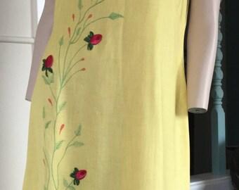 Vtg 50s pale yellow embroidered linen shift dress Gallant california