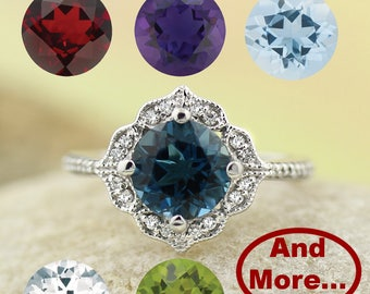 Personalized Gems & Diamond Vintage Floral Ring In 14k White Gold. Gem1224