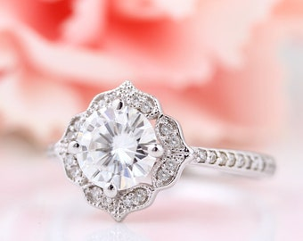 Certified  7mm Forever One Moissanite Near Colorless Engagement Ring Vintage Floral style In 14k White Gold,  Gem1224
