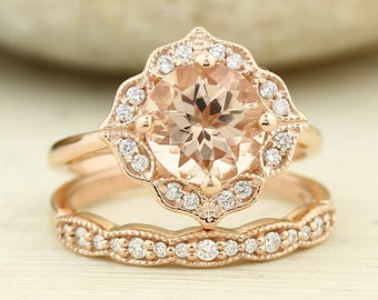 Bridal Set Floral Design  Fancy Morganite Engagement Ring with Milgrain 14K Rose Gold Diamond Halo Wedding SET 8mm Round -Gem1141-1277
