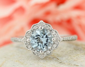 Natural Aquamarine Floral Style Engagement Ring Set , Diamond Wedding Ring Set  with Art deco wedding band In 14k white Gold Gem1224-924