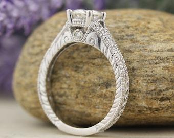 1.00 carat 6.5mm Round Forever One (GHI) Moissanite Antique Style Art Deco Diamond Engagement Ring   ENR7890