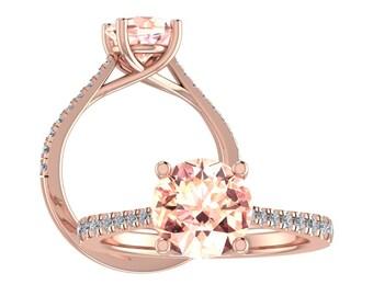 7mm Round  Natural Morganite & Diamond Trellis Style Engagement Ring In 14k/10K Rose Gold