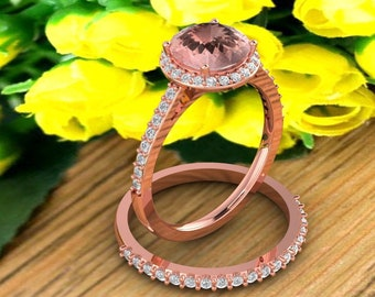 Natural AAA Morganite Ring Set, Diamond Halo Morganite Engagement Ring Band Set, Roes gold,8mm gemstone - Gem1618