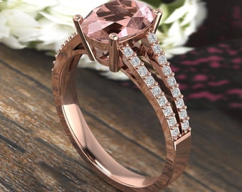 9x7mm Oval Morganite  & Diamond Engagement Ring In 14k Rose Gold  G1616