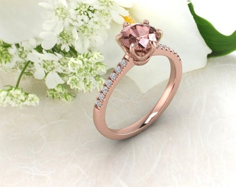 7mm Round Morganite  & Diamond Crown Style Engagement Ring In 14k Rose Gold